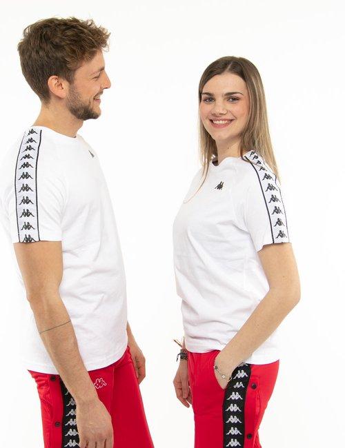 T-shirt Kappa con bande laterali e logo a lato - Bianco