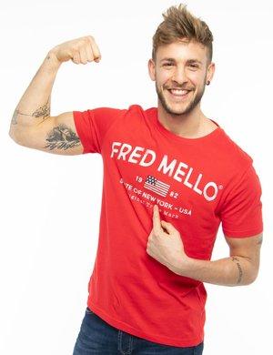 T-shirt Fred Mello con scritta vintage
