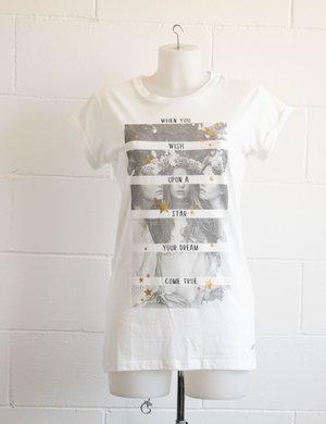T-shirt Maison Espin con stampa e stelle glitterate