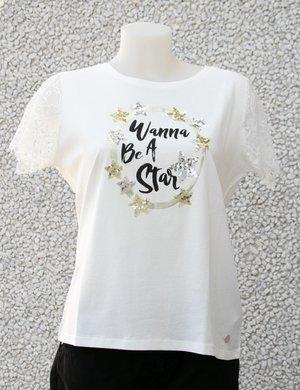 T-shirt doppio tessuto con pizzo