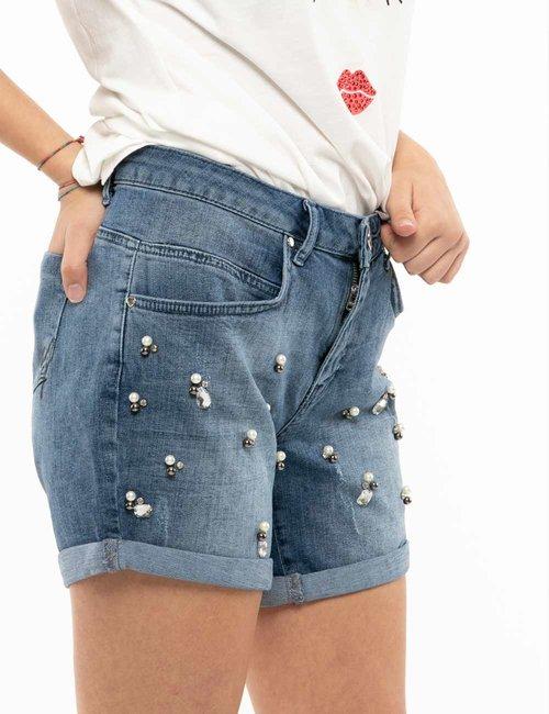 Shorts Maison Espin con applicazioni - Jeans