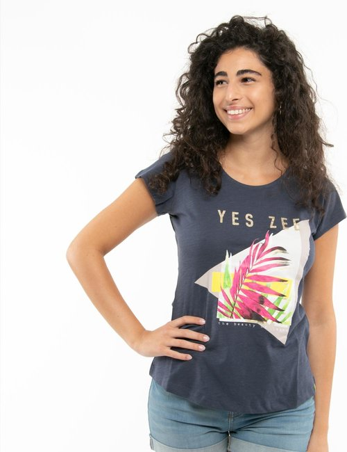 T-shirt Yes Zee con stampa e scritta glitterata - Blu