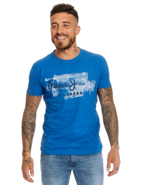 T-shirt Pepe Jeans con stampa vintage - Blu
