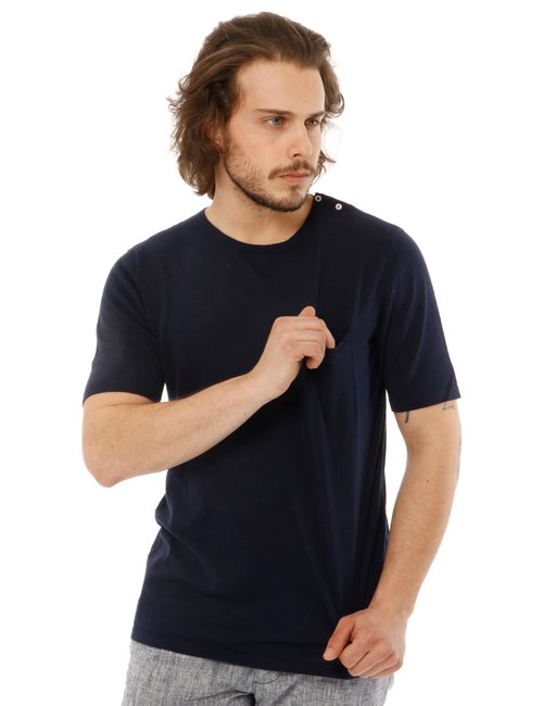T-shirt Yes zee con logo e taschino - Blu