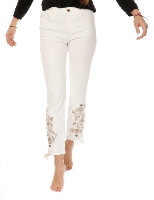 jeans Yes zee con ricamo - Bianco