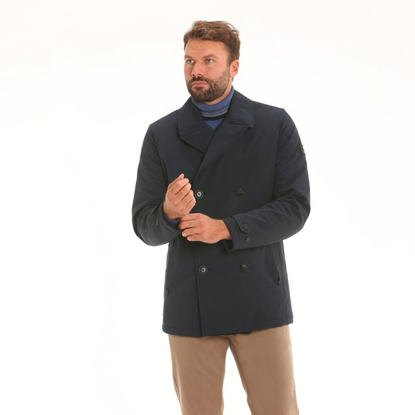 Giacca peacoat doppiopetto in mechanical stretch Maxland®