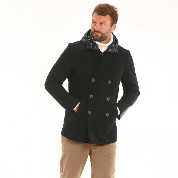 Double-breasted woollen men peacoat D17 with detachable hood