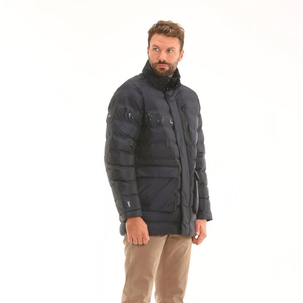 Waterproof padded Men's jacket F09 in ripstop nylon with hood