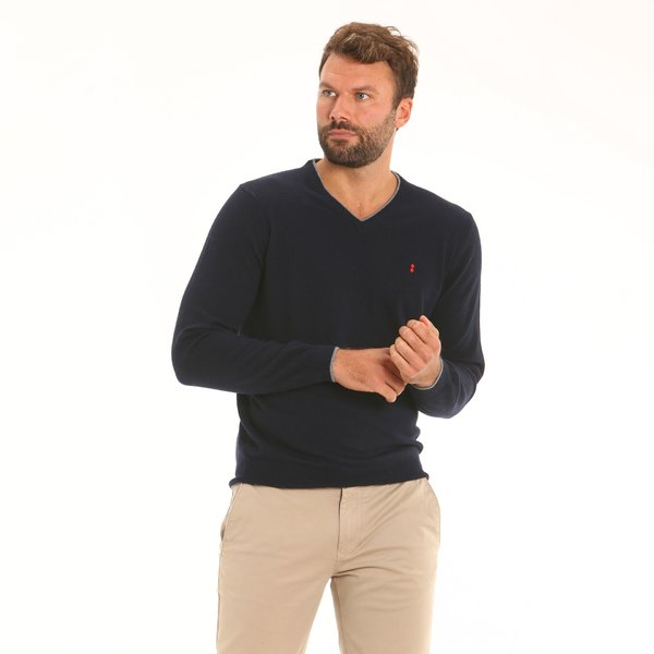 Italian-made cashmere blend V-neck men's jumper B134