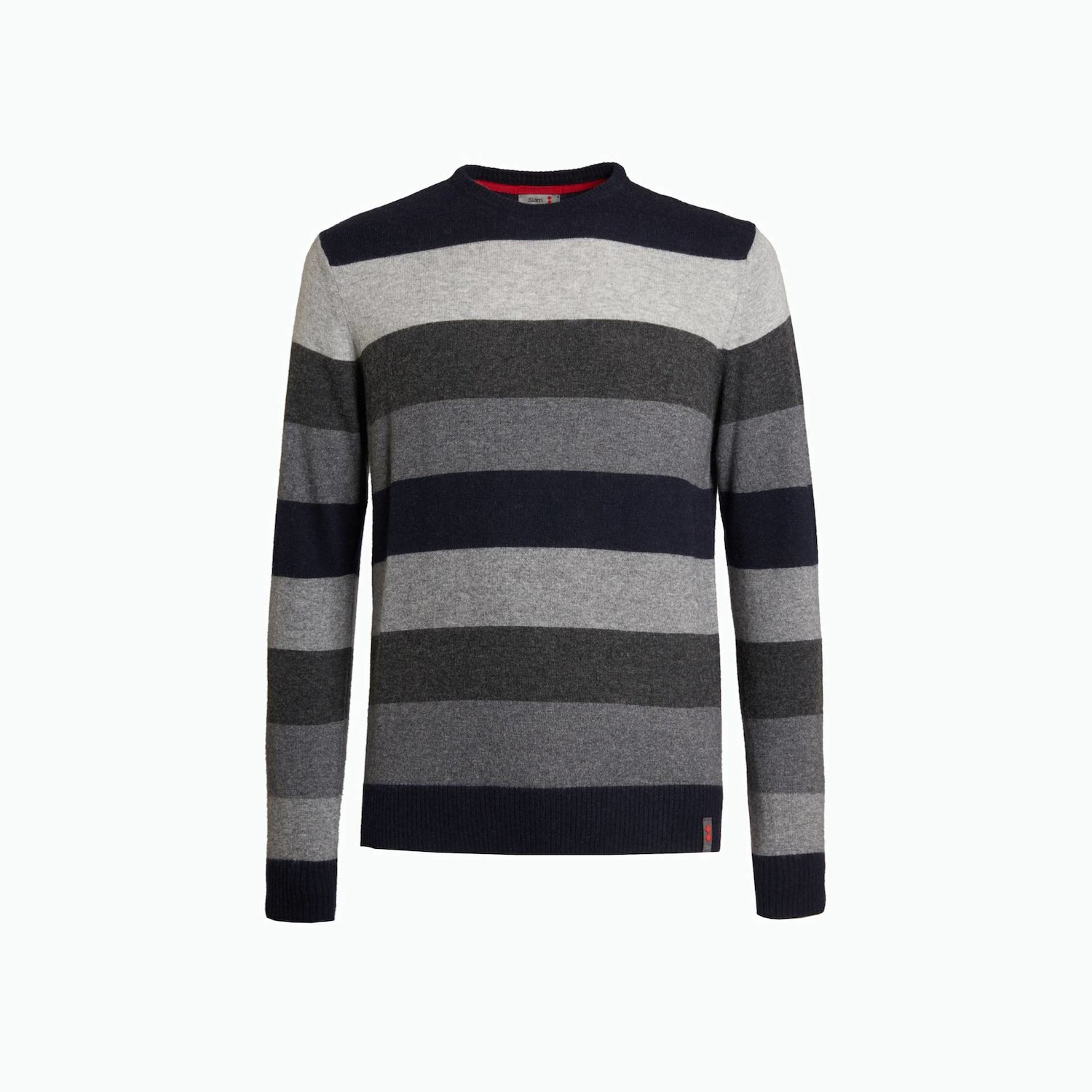 B135 sweater - Multi Stripe Grey Melange