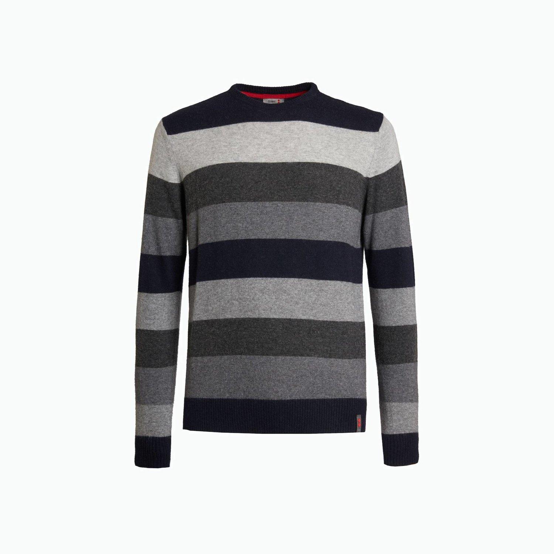 Pullover B135 - Streifen Grau, Meliert