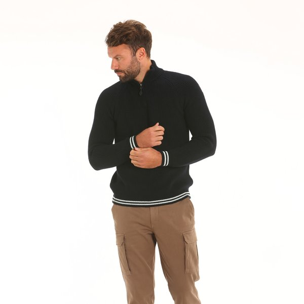 Men jumper D56 in technical merino blend with zip