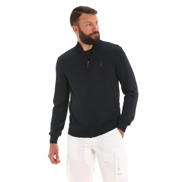 Cárdigan E31 para hombre con cremallera en algodón
