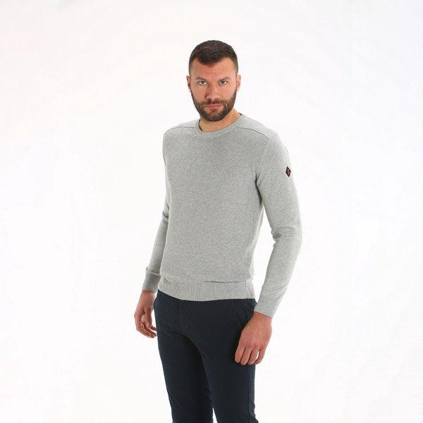 Crew neck sweater for men E34 in regenerated cotton