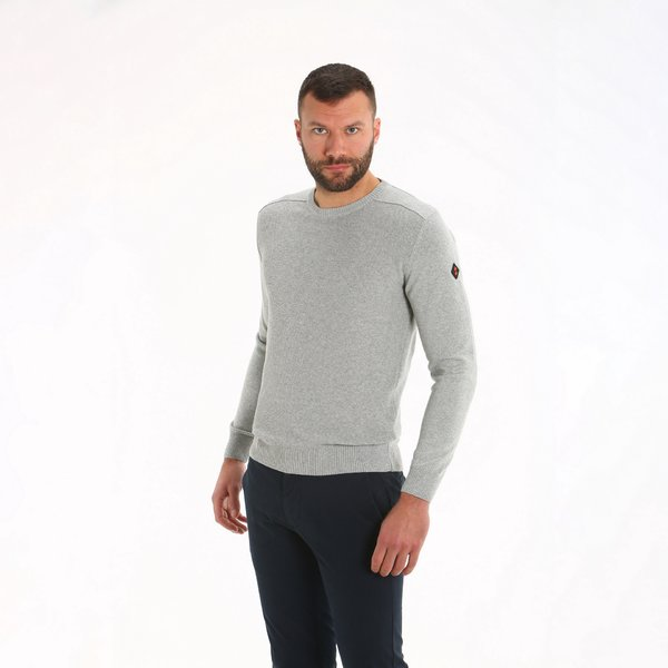 Crew neck sweater for men E34 in regenerated cotton