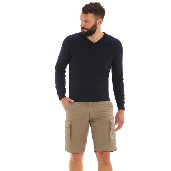 Men's v-neck jumper in regenerated polycotton E35