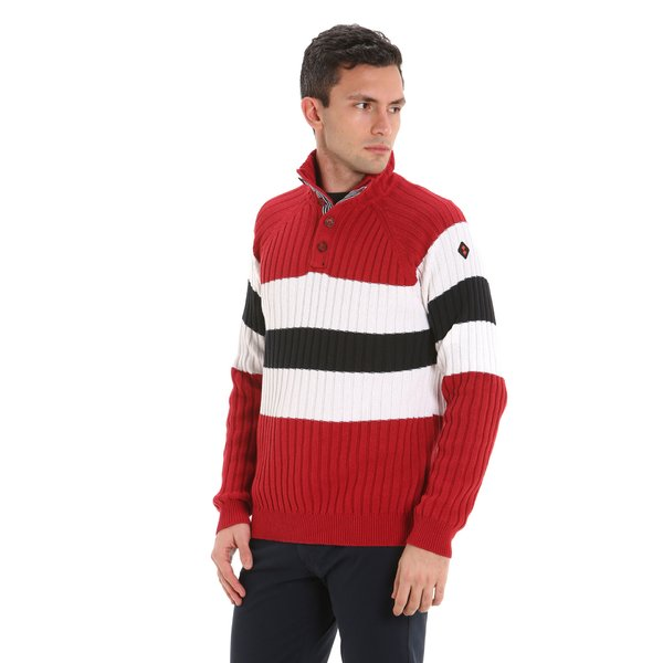Men's sweater in organic eco-cotton with three buttons