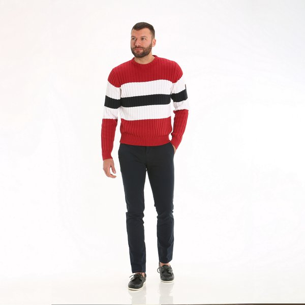 E41 men's crewneck jumper with striped weave