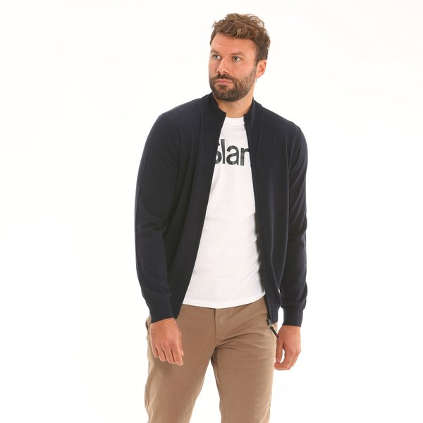 Men cardigan F68 in merino wool with zip
