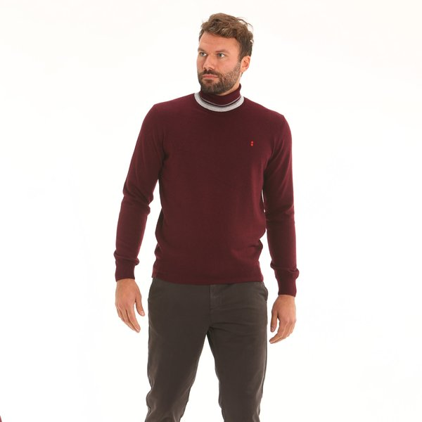 Italian-made cashmere blend polo-neck Men's jumper F65