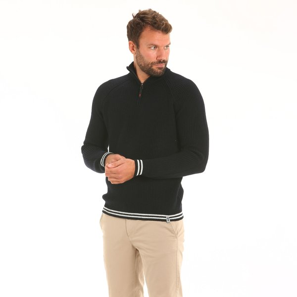 Men jumper F62 in merino blend jumper with zip collar