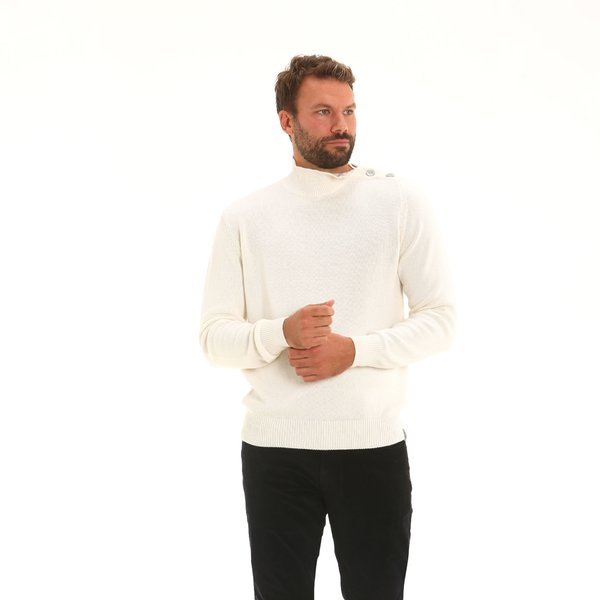 Italian-made merino and cotton blend polo-neck Men's jumper F64
