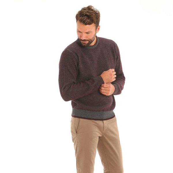 Jersey hombre F54 de cuello caja en mezcla de lana de cordero