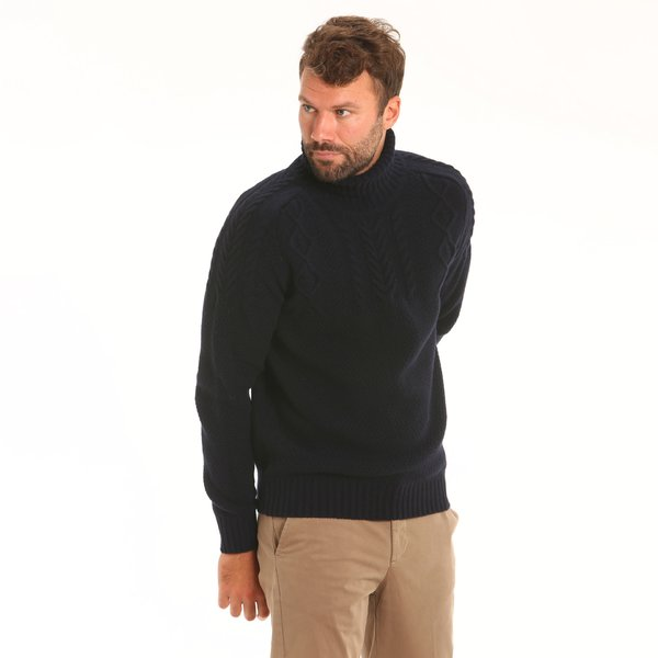 Lambswool blend, solid-colour polo-neck Men's jumper F77