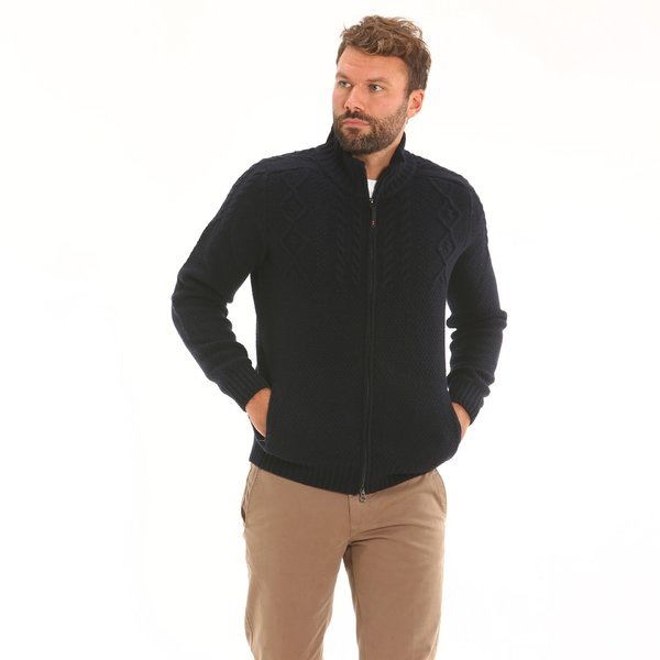 Solid-colour Men's zip cardigan F75 in soft lambswool