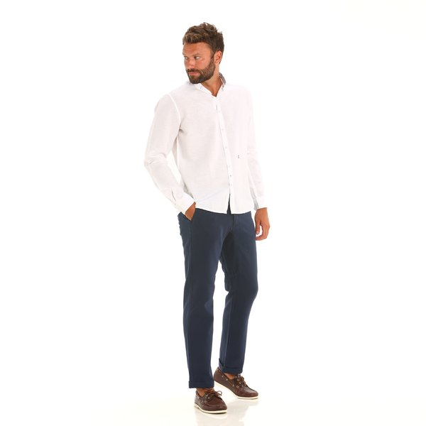 Men's solid-colour chino trousers E139