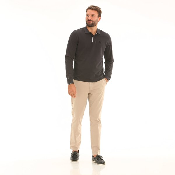 Men's chinos trousers F160 in stretch cotton twill