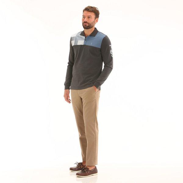 Pantalón chino hombre F160 en sarga de algodón elastizada