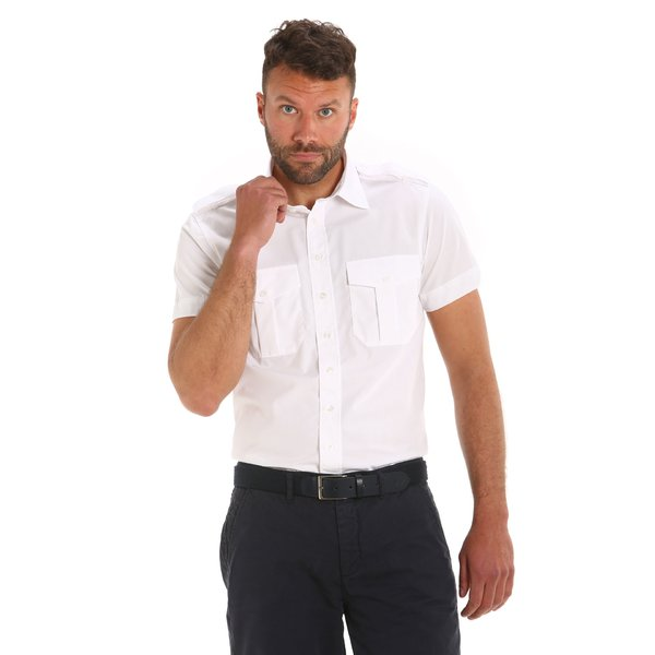 Laurel man shirt in poplin cotton with insignia