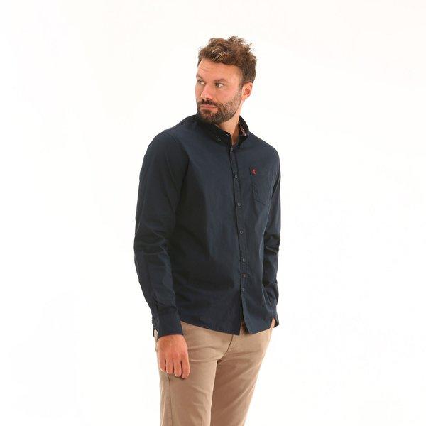 Camisa B12 para hombre, de manga larga y con un pequeño bolsillo lateral