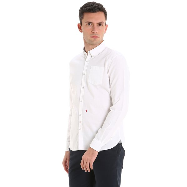 B75 men's long-sleeved shirt in Oxford cotton pique