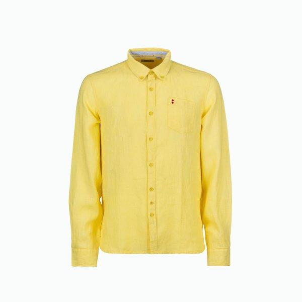 Camisa hombre C16 de lino con botones en el cuello