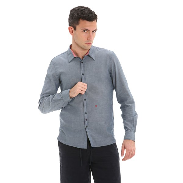 C26 men's long-sleeved shirt in 100% chambray cotton