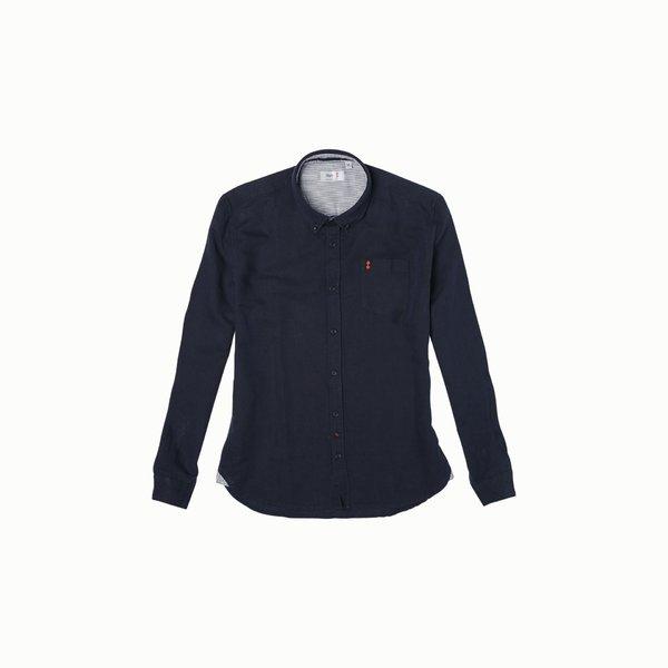 Camisa E121 para hombre, de manga larga y en mezcla de lino