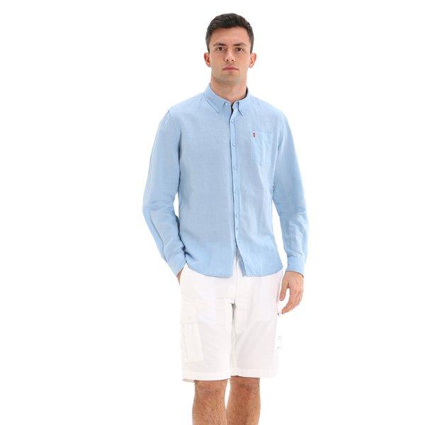 Langärmliges Herrenhemd E121 aus Leinenmischgewebe
