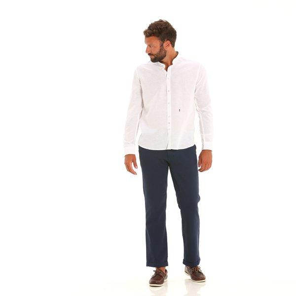Camisa E122 para hombre, de manga larga y cuello mao