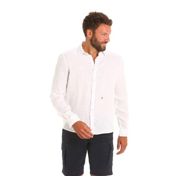 Camisa E132 para hombre de manga larga en lino