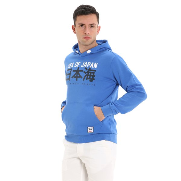 E62 men's hooded cotton sweatshirt with central pocket
