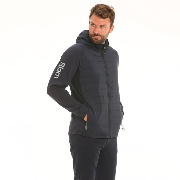 Men sweatshirt F45 with padded nylon, hood and zip