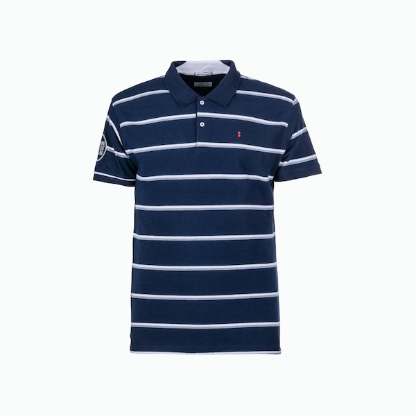 Two-tone striped men's polo shirt C80 with embroidery on the back