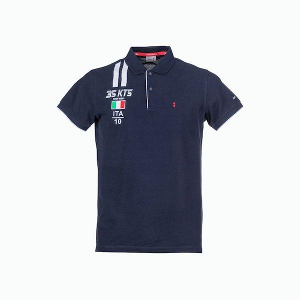 Polo hombre C117 con bordados y bandera de Italia en el pecho