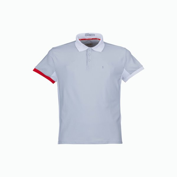 C211 men's polo shirt with drain off cut on the back