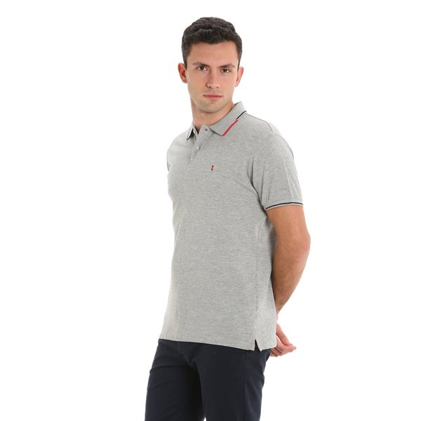 Stern Melange men's polo shirt with white profiles