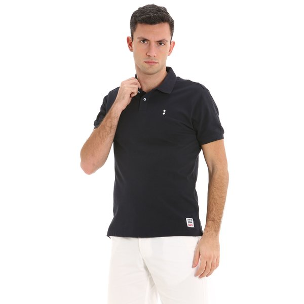 E93 men's cotton polo shirt with nautical print