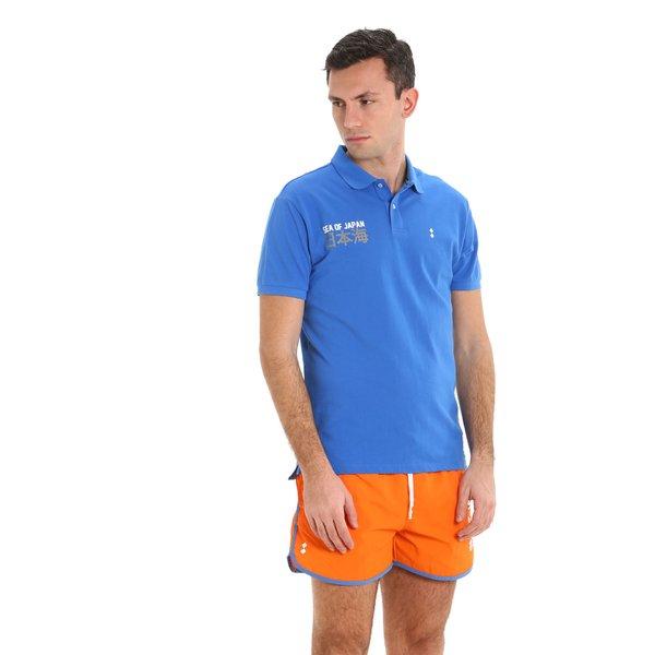 Herren-Poloshirt E93 aus Baumwolle mit Aufdrucken mit Seefahrtmotiv