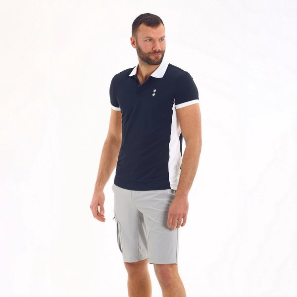 E88 men's short-sleeved polo shirt with collar in a contrasting colour